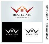 real estate logo design... | Shutterstock .eps vector #735546601