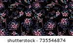 the cute pattern in flowers.... | Shutterstock .eps vector #735546874