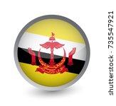 brunei flag round glossy icon.... | Shutterstock .eps vector #735547921
