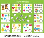 counting educational children... | Shutterstock .eps vector #735548617