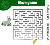 maze children game  help donkey ... | Shutterstock .eps vector #735549049