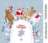 christmas party on winter snow... | Shutterstock .eps vector #735549484