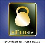gold badge with kettlebell... | Shutterstock .eps vector #735550111