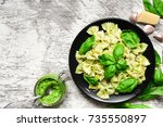Farfalle Pasta With Basil Pest...