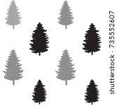 christmas trees seamless... | Shutterstock .eps vector #735552607