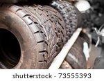 Row of quad motorcycle tires - stock photo
