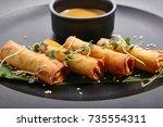 spring rolls   fried vietnamese ... | Shutterstock . vector #735554311