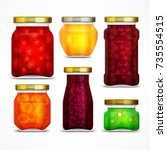 natural fruit jam preserves... | Shutterstock .eps vector #735554515