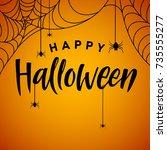 a poster of happy halloween.... | Shutterstock .eps vector #735555277