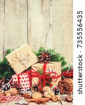 christmas background  gifts....   Shutterstock . vector #735556435
