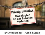 warning sign with german text ... | Shutterstock . vector #735556885