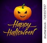 halloween pumpkin vector poster.... | Shutterstock .eps vector #735557557