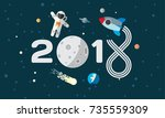 the astronaut and rocket on the ... | Shutterstock .eps vector #735559309