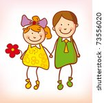 two kids in love isolated on... | Shutterstock .eps vector #73556020