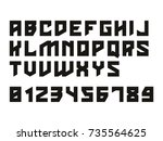 hard font. vector alphabet with ... | Shutterstock .eps vector #735564625