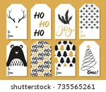 christmas gift tags. vector | Shutterstock .eps vector #735565261