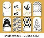 christmas gift tags. vector | Shutterstock .eps vector #735565261