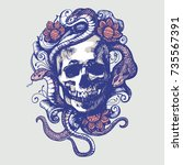 skull with patterns  flowers... | Shutterstock .eps vector #735567391