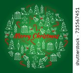 christmas illustration with the ... | Shutterstock .eps vector #735567451