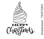 merry christmas card. hand... | Shutterstock .eps vector #735571891