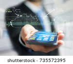 view of a trading forex data... | Shutterstock . vector #735572395