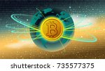 bitcoin golden digital currency ... | Shutterstock .eps vector #735577375