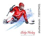 watercolor illustration. sledge ... | Shutterstock . vector #735579451