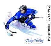 watercolor illustration. sledge ... | Shutterstock . vector #735579529