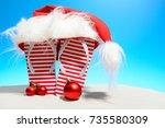 Striped Flip Flops And Santa...