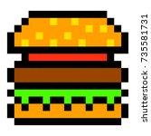 pixel burger hamburger art... | Shutterstock .eps vector #735581731
