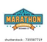 modern urban marathon badge... | Shutterstock .eps vector #735587719