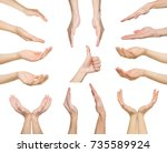 white man hands showing symbols ... | Shutterstock . vector #735589924