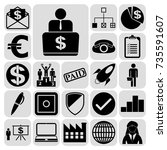 set of 22 business icons or... | Shutterstock .eps vector #735591607