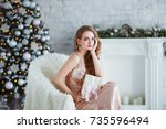 holidays  celebration and... | Shutterstock . vector #735596494