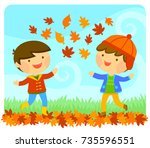 cute kids playing with autumn... | Shutterstock .eps vector #735596551