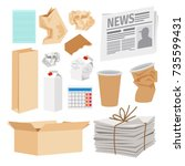 paper trash icons collection.... | Shutterstock .eps vector #735599431