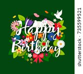 happy birthday card with... | Shutterstock .eps vector #735599521