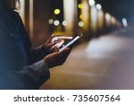 girl pointing finger on screen... | Shutterstock . vector #735607564