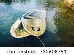 sunken wooden boat in sea or...   Shutterstock . vector #735608791