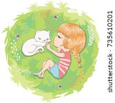 cute girl and little cat vector ...   Shutterstock .eps vector #735610201