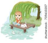 cute girl and little cat vector ...   Shutterstock .eps vector #735610207