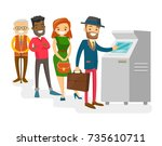 group of caucasian white and...   Shutterstock .eps vector #735610711