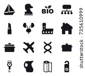 16 vector icon set   boat ... | Shutterstock .eps vector #735610999