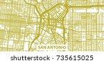 detailed vector map of san... | Shutterstock .eps vector #735615025