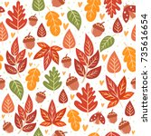 seamless forest pattern with... | Shutterstock .eps vector #735616654