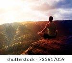lens defect. man meditating in... | Shutterstock . vector #735617059