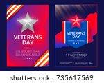 veterans day poster or cover... | Shutterstock .eps vector #735617569