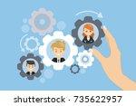 team work gears concept... | Shutterstock .eps vector #735622957