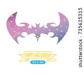 vector halloween abstract bat... | Shutterstock .eps vector #735625315