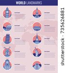world landmarks infographics... | Shutterstock .eps vector #735626881